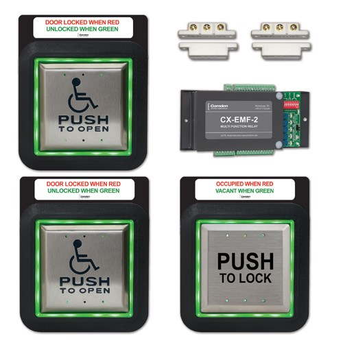 View Restroom Control System Kits: 2 Door Aura(tm) Illuminated Push Plate Switch Restroom Control System (CX-WC14FM)