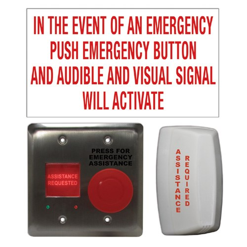 View Emergency Call System Kit: Maintained 'Press For Assistance' Push Button with Double Gang Switch/ Annunciator Combo (CX-WEC10K2)