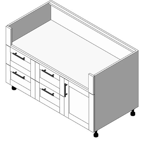 View Cabinet Revit Object: OGBXX41 4 Drawer + 1 Door Grill Base