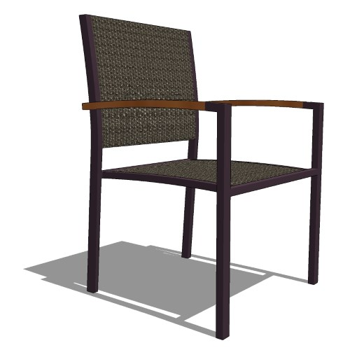 Core Stacking Aluminum, Teak, and Polyrattan Arm Chair (#316)