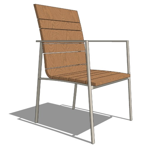 Core Stacking Stainless Steel and Vintage Teak Arm Chair (#602)