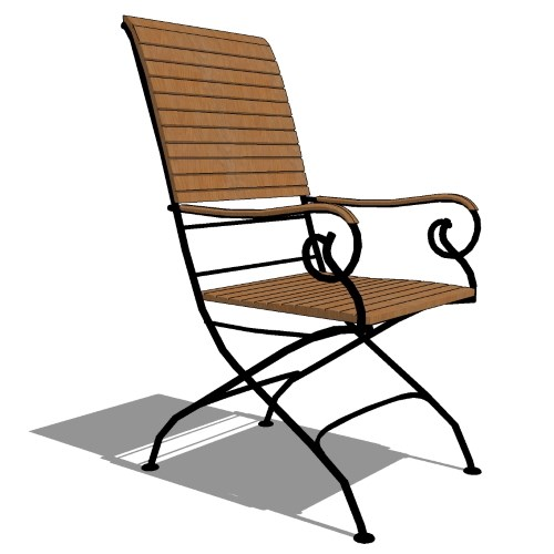 Core Folding Iron and Teak High Back Arm Chair (#701)