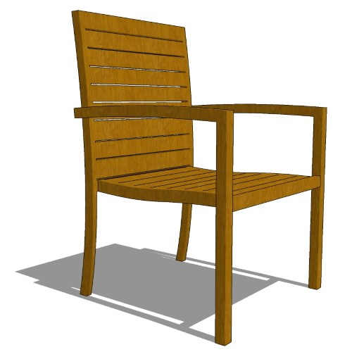 Core Stacking Teak Full Back Arm Chair (#710)