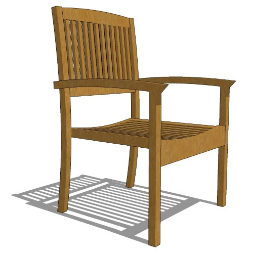 Core Stacking Teak Half Back Arm Chair (#711)
