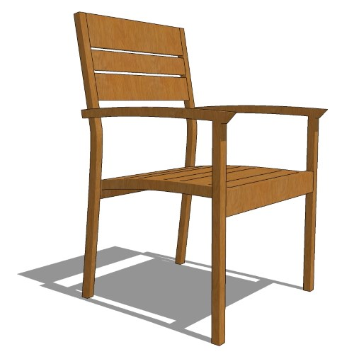 Core Stacking Teak Half Back Arm Chair (#712)