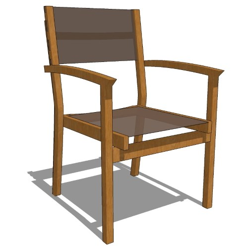 Core Stacking Teak Quarter Back Sling Arm Chair (#740)